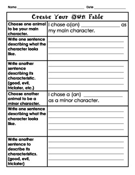 Create Your Own Fable Worksheet
