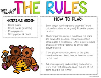Create Your Own Game Board *Editable Bears & Bees Themed*