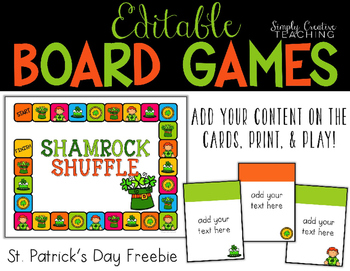 Create Your Own Game Board *Editable St. Patrick's Day Themed*