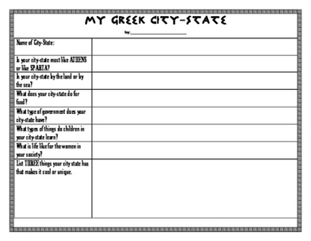 Create Your Own Greek City-State Project