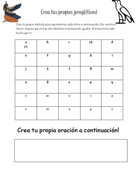 Create Your Own Hieroglyphics Page- Spanish Version