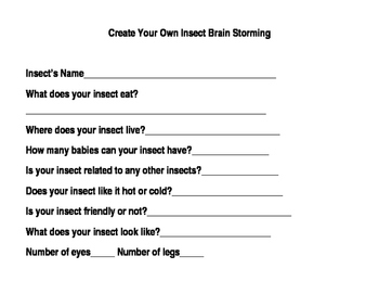 Create Your Own Insect Writing