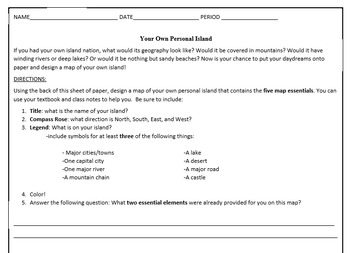 Create Your Own Island Worksheet- 5 Essential Map Elements Review on math ideas, math multiplication, math printouts, math writing, math handouts, math flashcards, math paper, math tips, math quizzes, math printables, math activities, math lessons, math workbooks, math tables, math games, math journals, math for kindergarteners,