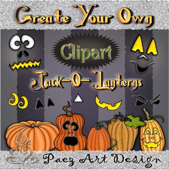 Create Your Own Jack-O-Lantern Clipart Bundle {Paez Art Design}