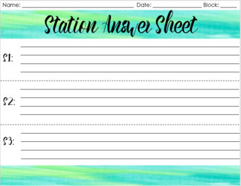 Create Your Own Learning Stations Template -- Blue & Green Watercolor Design