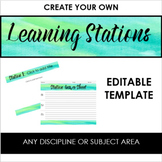 Create Your Own Learning Stations Template -- Blue & Green