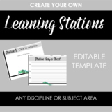 Create Your Own Learning Stations Template -- Leaf & Black Design