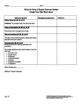 Create Your Own Mad Libs®! Project with rubric