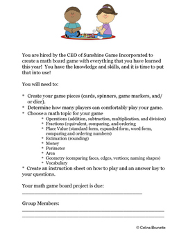Create Your Own Math Board Game Instructions and Rubrics