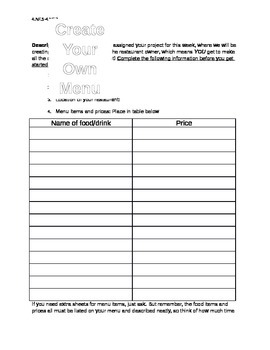 Create Your Own Menu: Project with Decimals (Rubric Included)