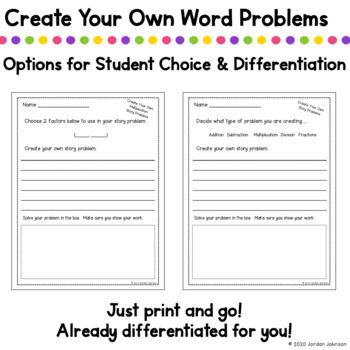 Create Your Own Multiplication Story Problems - Differentiated