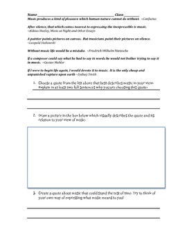 Create Your Own Music Quote! Class work worksheet