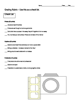 Create Your Own Photo Essay Guide and Rubric *Complete Process