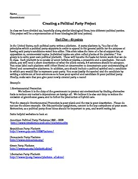 Create Your Own Political Party Project