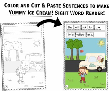 Create-Your-Own Reader - Yummy Ice Cream!  (Practice Building Sentences)