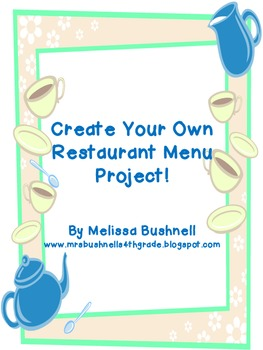 create your own restaurant menu by classroom imagination
