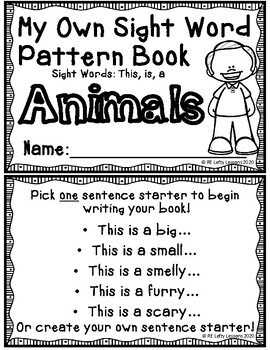 Create Your Own Sight Word Pattern Book (8 books!)