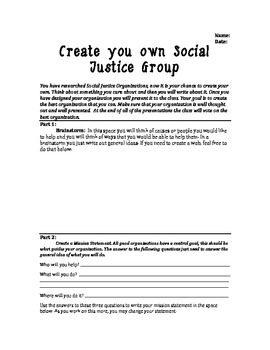 Create Your Own Social Justice Organization