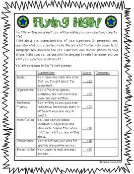 Create Your Own Superhero - Writing Assignment Rubric Sample