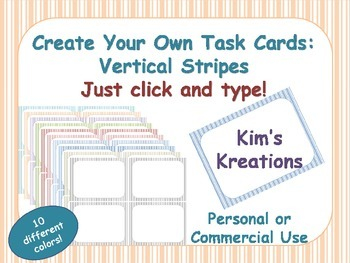 Create Your Own Task Cards: Vertical Stripes;  10 colors; click and type