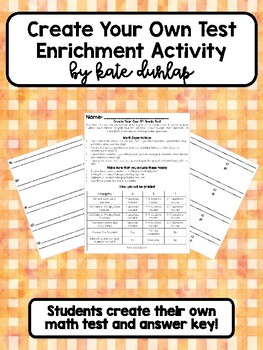 Create Your Own Test- Enrichment Math Review