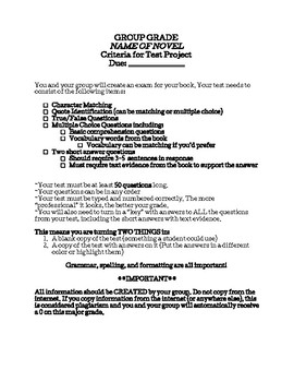 Create Your Own Test - Project criteria for any novel