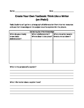 Create Your Own Textbook: Think Like a Writer (on iPads!)
