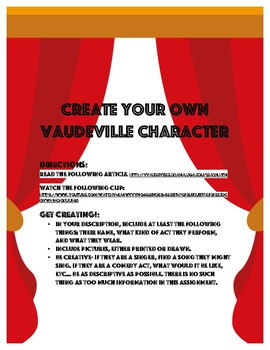 Create Your Own Vaudeville Character