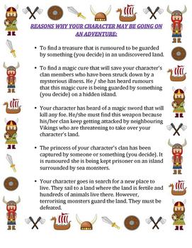 Viking story writing. An inspirational handbook for pupils writing a saga.