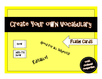 Create Your Own Vocabulary Card Assignment - ALL SUBJECTS