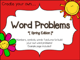Create Your Own Word Problems - Math Center! NO PREP Activity!