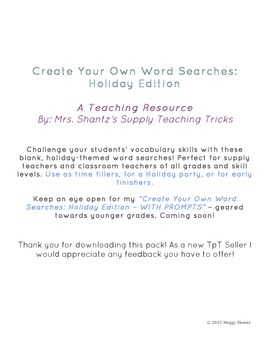 Create Your Own Word Searches - Holiday Edition