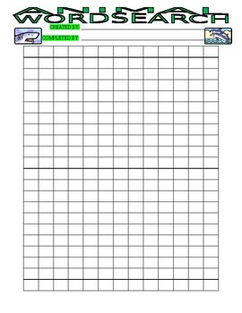 Create Your Own Wordsearch : ANIMALS (student wordsearch exchange)