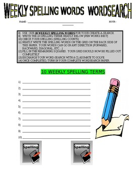 Create Your Own Wordsearch : Weekly Spelling Words (Student Exchange)
