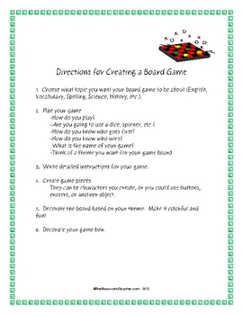 Create a Board Game - Instructions