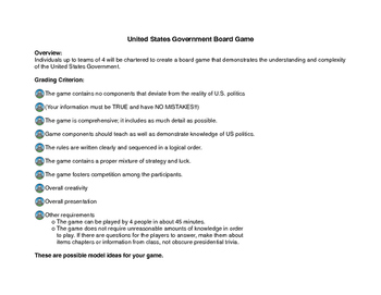 Create a Board Game about the United States Government