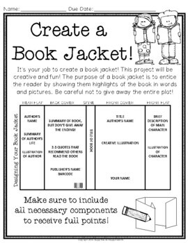 Book Jacket: Book Jacket Book Report - Writing, Art & Reading combined!