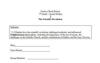 Scientific Revolution Create a Book Group Activity