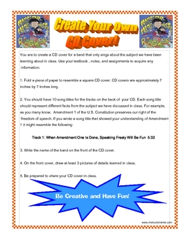 Create a CD Cover Reading or History Project Activity