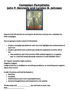 Create a Campaign Pamphlet for John F. Kennedy and Lyndon B. Johnson