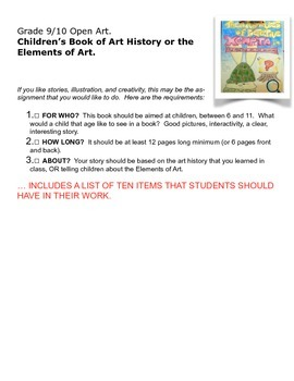 Create a Children's Book on Art History or the Elements of Art.
