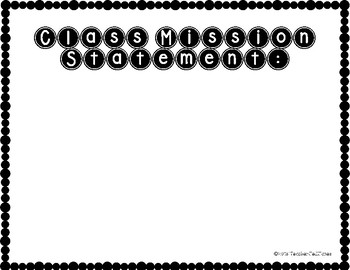Create a Classroom Mission Statement! EDITABLE