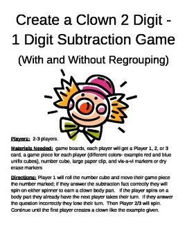 Create a Clown 2 Digit - 1 Digit Subtraction With and Without Regrouping Game