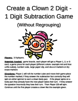 Create a Clown 2 Digit - 1 Digit Subtraction Without Regrouping Game