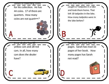 Create a Clown 2 Digit Addition and Subtraction Problem Solving