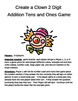 Create a Clown 2 Digit Addition plus TENS and ONES Game