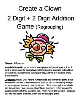 Create a Clown 2 Digit Addition With Regrouping