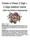 Create a Clown 2 Digit Addition With and Without Regrouping Game