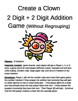 Create a Clown 2 Digit Additon Without Regrouping Game