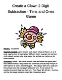Create a Clown 2 Digit Subtraction Minus TENS and ONES Game